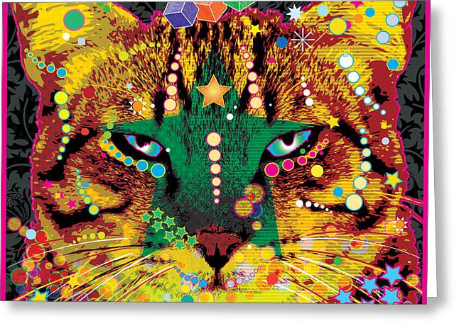 Colorful Funny Greeting Cards - Thoughtful Kitty Greeting Card by Gary Grayson