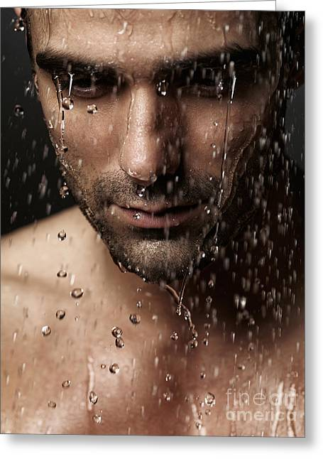 Shower Head Photographs Greeting Cards - Thoughtful man face under pouring water Greeting Card by Oleksiy Maksymenko