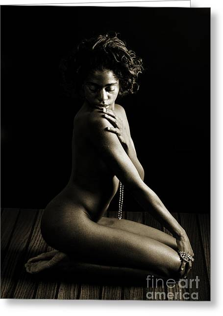 Nude Greeting Cards - Thoughtful Nude African Woman Greeting Card by Kendree Miller