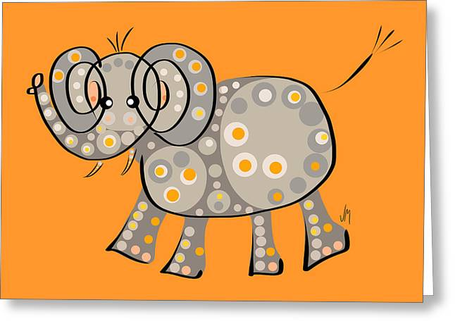 Stylized Art Greeting Cards - Thoughts and colors series elephant Greeting Card by Veronica Minozzi
