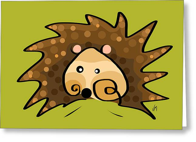 Stylized Art Greeting Cards - Thoughts and colors series hedgehog Greeting Card by Veronica Minozzi