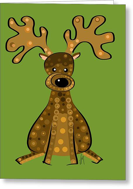 Stylized Art Greeting Cards - Thoughts and colors series reindeer Greeting Card by Veronica Minozzi