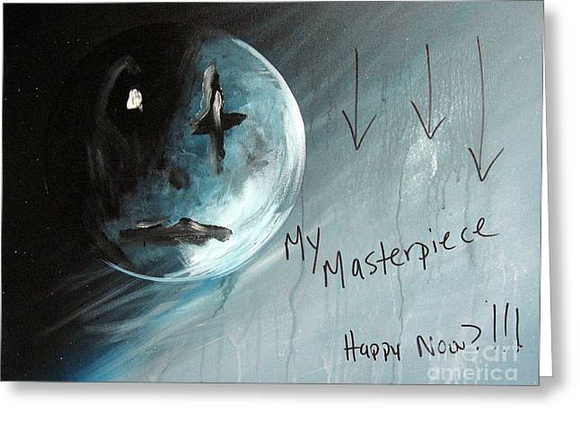 Sad Moon Greeting Cards - Thoughts Of An Artist by Shawna Erback Greeting Card by Shawna Erback
