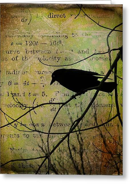 Thoughts Of Crow Greeting Card by Gothicolors Donna Snyder