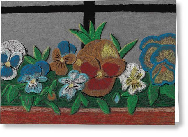 Flower Boxes Pastels Greeting Cards - Thoughts of Home Greeting Card by Jessica Foster
