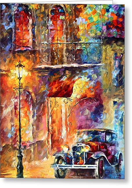 Old Automobile Greeting Cards - Thoughts of My ancestors  Greeting Card by Leonid Afremov