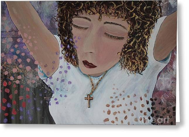 Gold Necklace Greeting Cards - Thoughts of Praise Greeting Card by Patsy Gunn