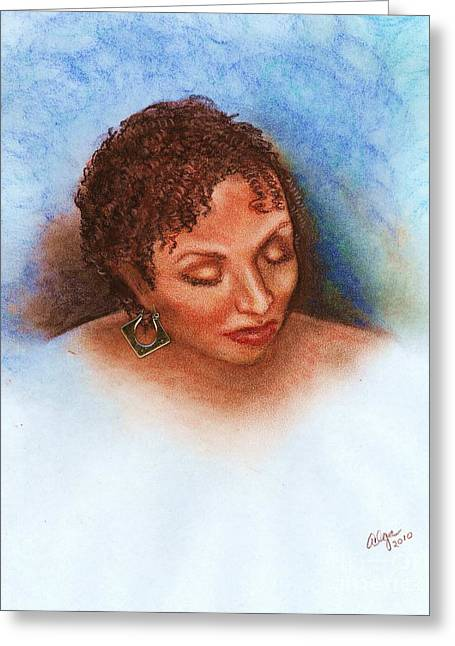 African-american Pastels Greeting Cards - Thoughts of you Greeting Card by Alga Washington