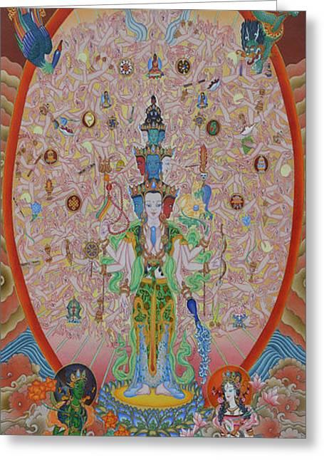 Liberation Greeting Cards - Thousand-Armed Avalokiteshvara Greeting Card by Ariyas Thangkas