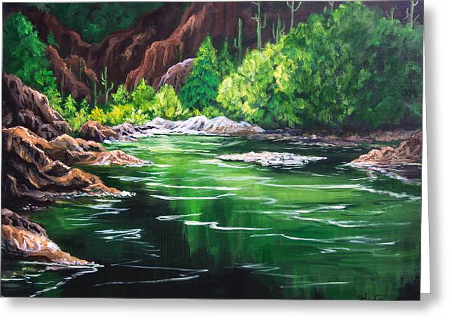 Town Mixed Media Greeting Cards - Thousand Trails Verde River Arizona Greeting Card by  Bob and Nadine Johnston