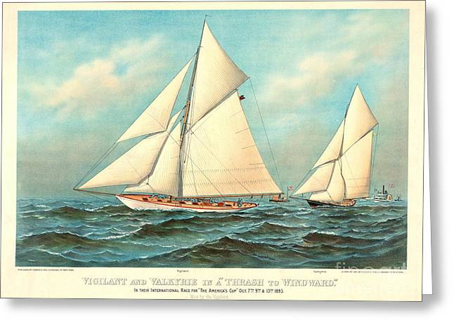 Thrash To Windward 1893 Greeting Card by Padre Art