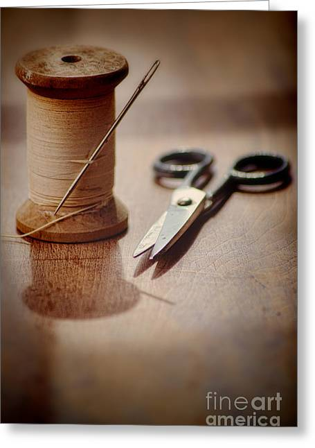 Scissors Greeting Cards - Thread and Scissors Greeting Card by Jill Battaglia
