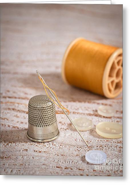 Sewing Hobby Greeting Cards - Threaded Needle Greeting Card by Amanda And Christopher Elwell