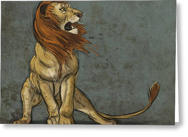 Lion Greeting Cards - Threatened Greeting Card by Aaron Blaise
