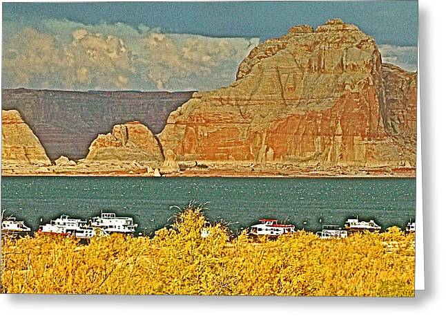 Clouds Over Canyon Greeting Cards - Threatening Clouds over Wahweap Bay in Lake Powell in Glen Canyon National Recreation Area-Arizona Greeting Card by Ruth Hager