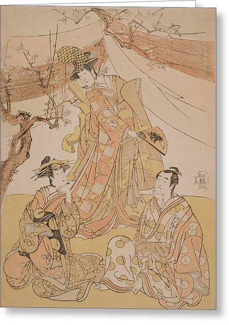 Cherry Blossoms Paintings Greeting Cards - Three Actors In A Scene Greeting Card by Yushido Shunsho
