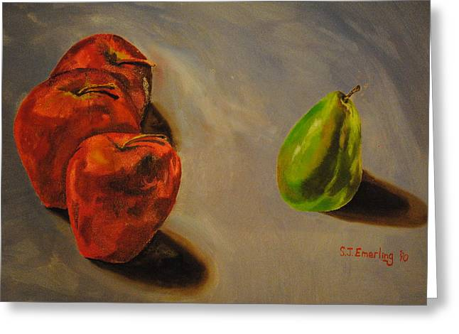 Oil On Canvas Board Greeting Cards - Three against one Greeting Card by Scott Emerling