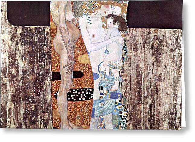 Woman In A Dress Greeting Cards - Three Ages Of Woman Greeting Card by Gustive Klimt