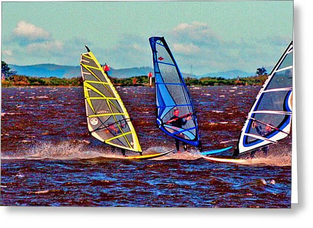 Three Amigo Windsurfers Greeting Card by Joseph Coulombe