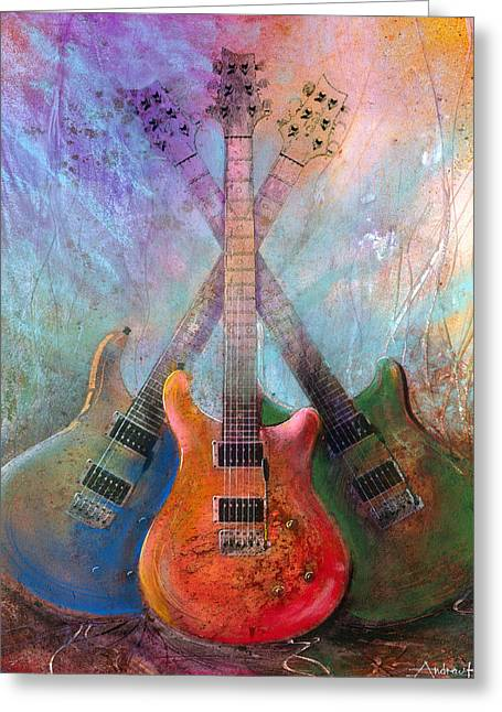 Rock And Roll Paintings Greeting Cards - Three Amigos Greeting Card by Andrew King