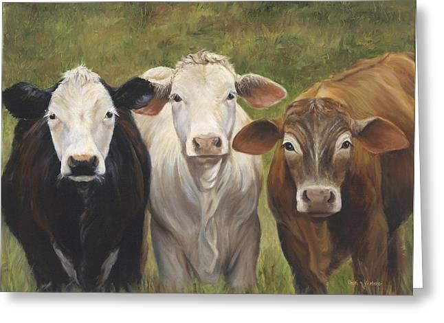 Three Cows Greeting Cards - Three Amigos Greeting Card by Cheri Wollenberg