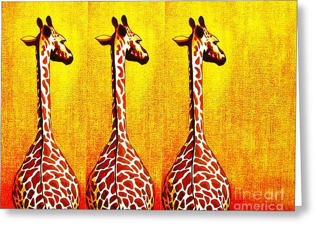 Jerome Stumphauzer Greeting Cards - Three Amigos Giraffes Looking Back Greeting Card by Jerome Stumphauzer