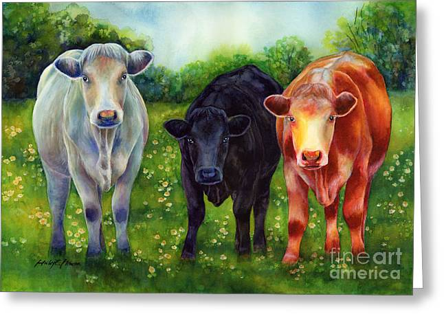 Whimsical Children Greeting Cards - Three Amigos Greeting Card by Hailey E Herrera