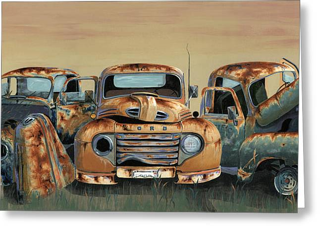 Rusty Pickup Truck Greeting Cards - Three Amigos Greeting Card by John Wyckoff