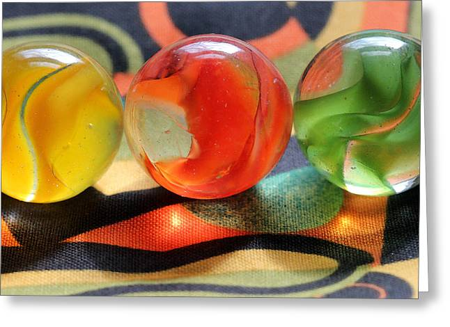 Cats Eye Marbles Greeting Cards - Three Amigos Greeting Card by Mary Bedy