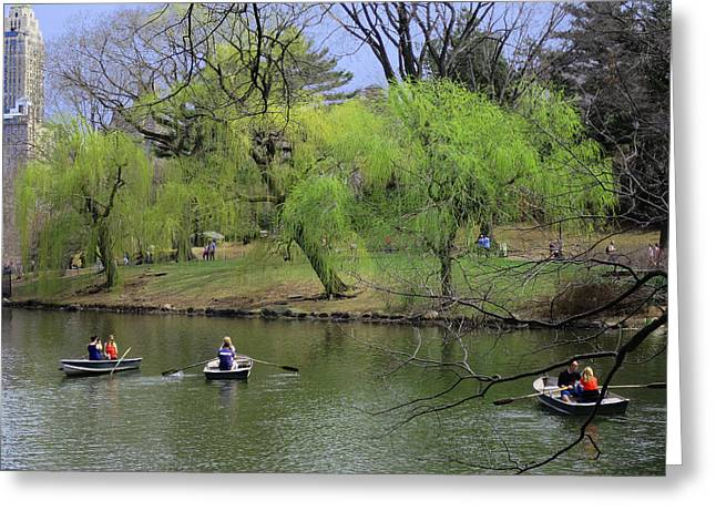 Rowing In Central Park Greeting Cards - Three and Three Greeting Card by Muriel Levison Goodwin
