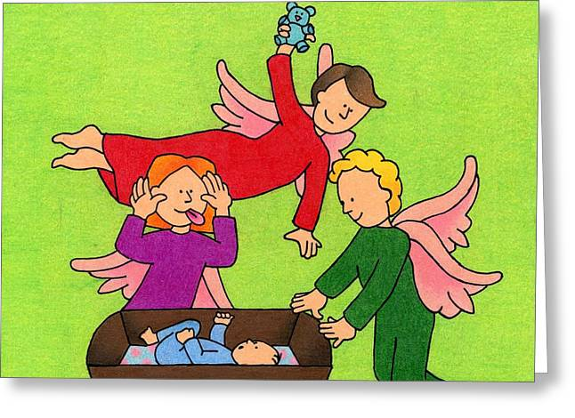 Three Angels And A Baby Greeting Card by Sarah Batalka