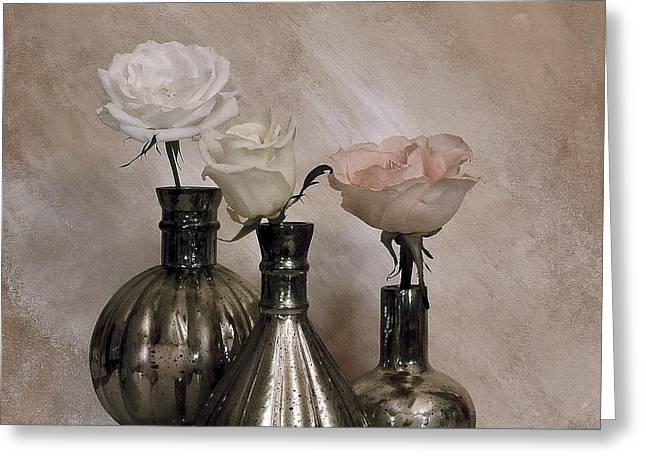 Glass Vase Greeting Cards - Three Antique Roses in Mercury Glass Greeting Card by Marsha Heiken