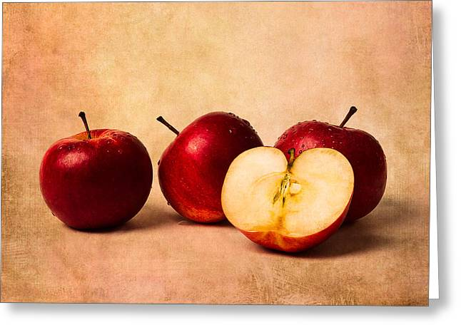 Harvest Art Greeting Cards - Three Apples And A Half Greeting Card by Alexander Senin