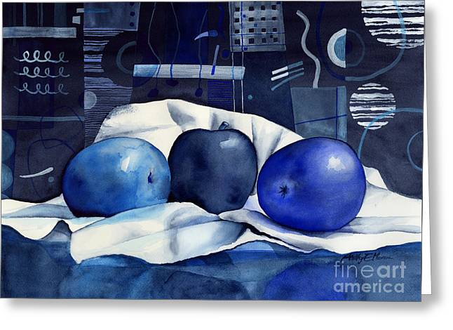 Monochrome Greeting Cards - Three Apples Greeting Card by Hailey E Herrera