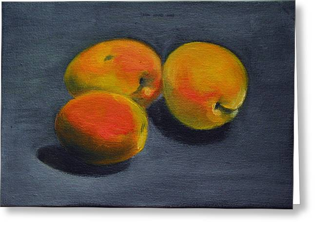 Apricot Greeting Cards - Three Apricots Greeting Card by Sarah Lynch