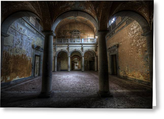 Empty Building Greeting Cards - Three arches Greeting Card by Nathan Wright