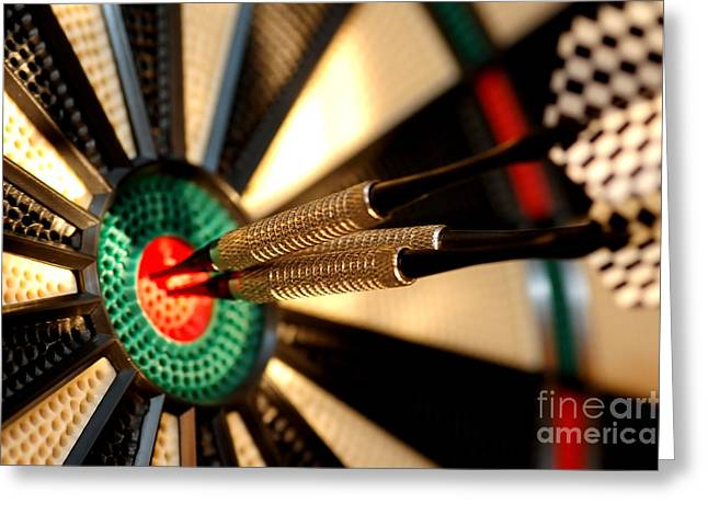 Three Arrows In The Centre Of A Dart Board Greeting Card by Michal Bednarek