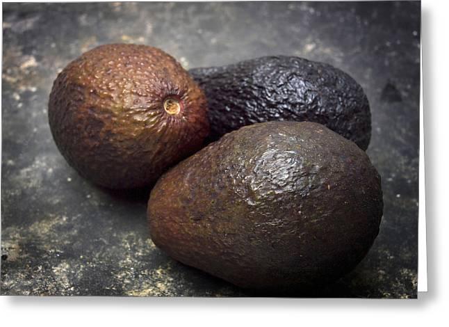Avocados Greeting Cards - Three avocados. Greeting Card by Bernard Jaubert