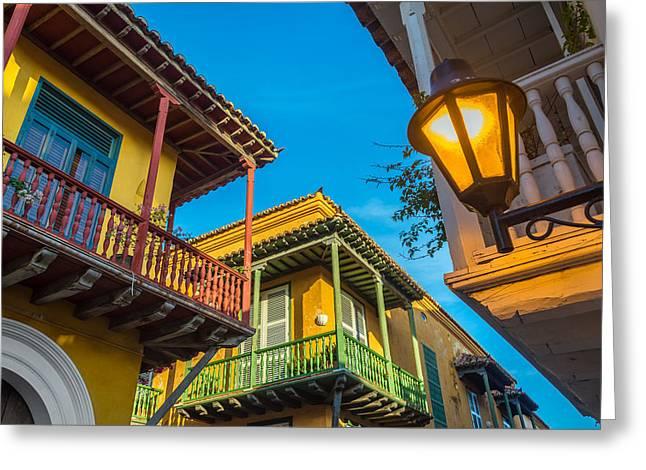 Cartagena Greeting Cards - Three Balconies Greeting Card by Jess Kraft