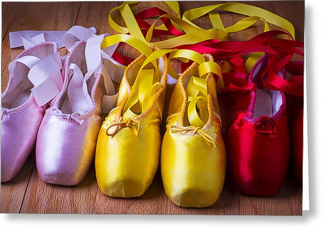 En Pointe Greeting Cards - Three Ballet Shoes Greeting Card by Garry Gay
