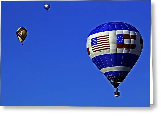 Hot Air Greeting Cards - Three balloons Greeting Card by Andy Crawford