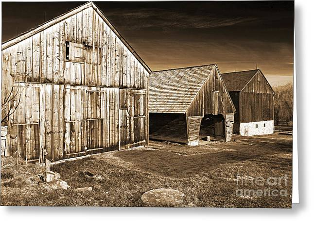 Gallery Three Greeting Cards - Three Barns Greeting Card by John Rizzuto