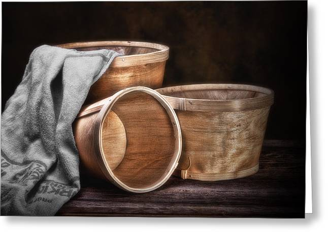 Gathering Photographs Greeting Cards - Three Basket Stil Life Greeting Card by Tom Mc Nemar