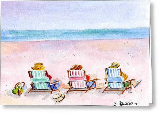 Sunbathing Greeting Cards - Three Beach Amigos Greeting Card by Sheryl Heatherly Hawkins