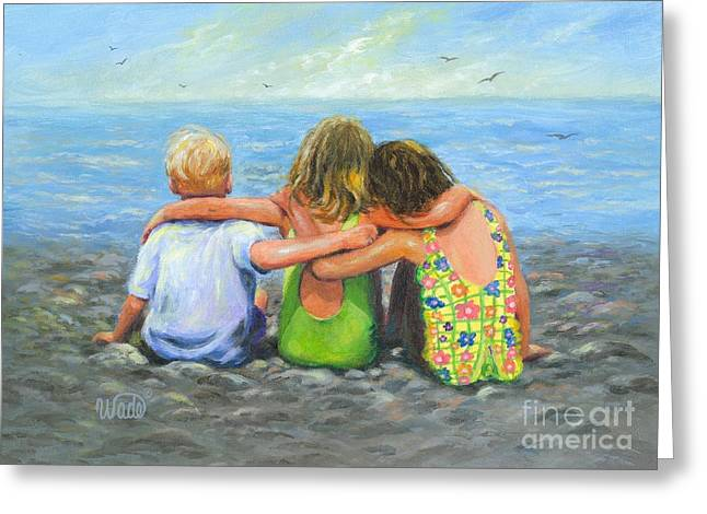 Recently Sold -  - Ocean Art. Beach Decor Greeting Cards - Three Beach Children Hugging Greeting Card by Vickie Wade