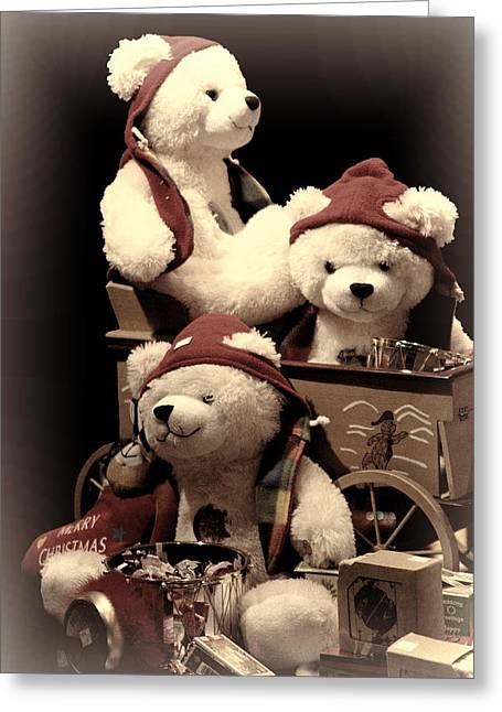 Wooden Wagons Photographs Greeting Cards - Three Bears Creative Greeting Card by Linda Phelps