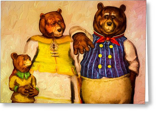 Porridge Greeting Cards - Three Bears Family Portrait Greeting Card by Bob Orsillo