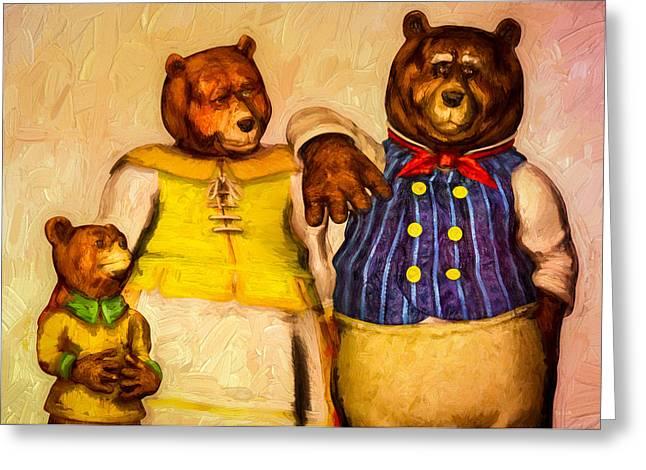 Three Bears Family Portrait Greeting Card by Bob Orsillo