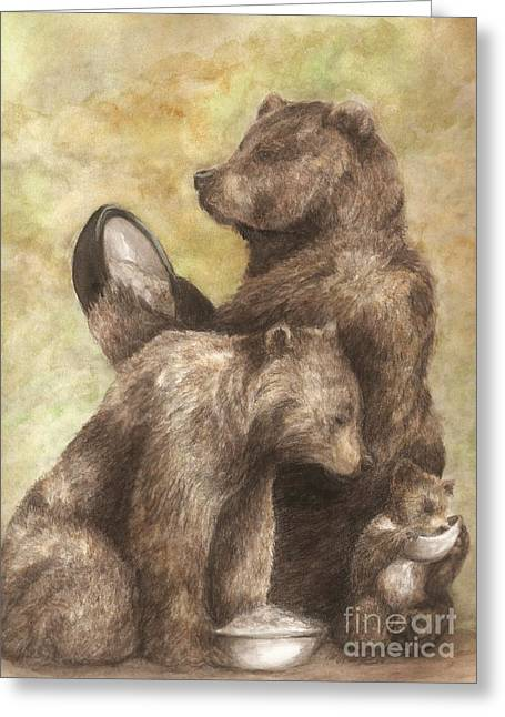 Porridge Greeting Cards - Three bears Greeting Card by Meagan  Visser
