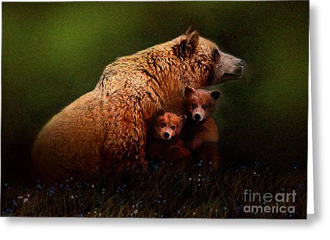 Kodiak Digital Greeting Cards - Three Bears Greeting Card by Robert Foster